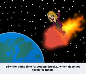 Bitstrips comic: #Twitter bomb time for Autism Speaks...which does not speak for Nicole.